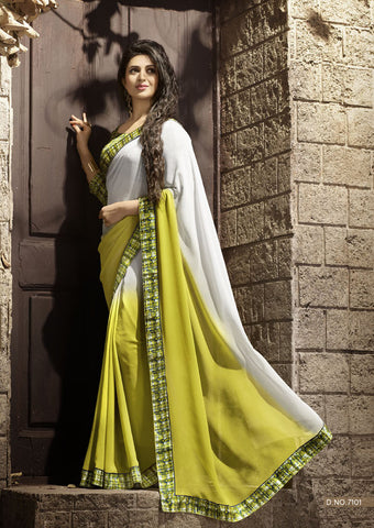 Yellow & Off White Daily Wear Georgette & Satin Saree with Art Silk Blouse