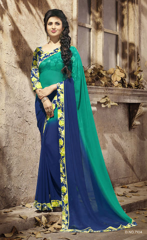 Blue & Green Daily Wear Georgette & Satin Saree with Art Silk Blouse