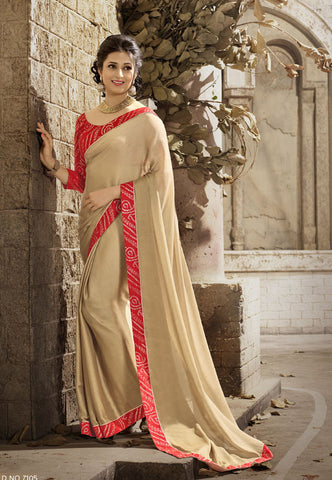 Beige Daily Wear Georgette & Satin Saree with Art Silk Blouse
