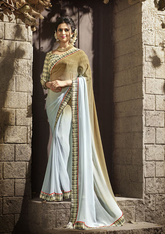 Beige And Gray Daily Wear Georgette & Satin Saree with Art Silk Blouse