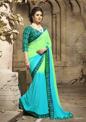 Turquoise Daily Wear Georgette & Satin Saree with Art Silk Blouse