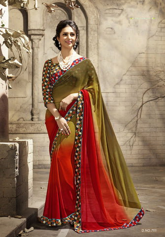 Orange And Green Daily Wear Georgette & Satin Saree with Art Silk Blouse
