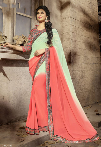 Green and Peach Daily Wear Georgette & Satin Saree with Art Silk Blouse