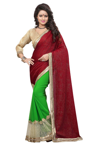 Multi Colored Velvet And Georgette Saree.