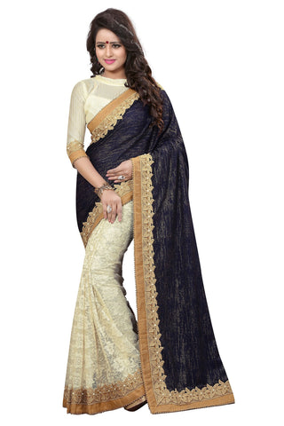 Black And Cream Colored Velvet And Cotton Net Saree.