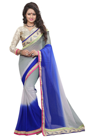 Grey And Blue Colored Georgette Saree.