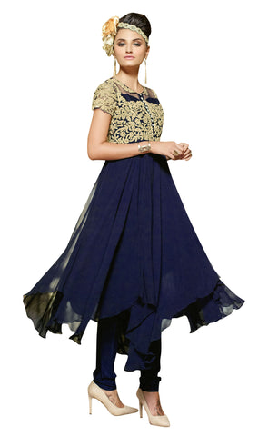 Blue Colored Faux georgette & Net suit.