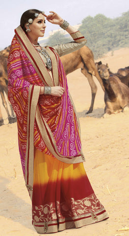 Pink,Yellow & Red Colored Georgette heavy Worked Saree
