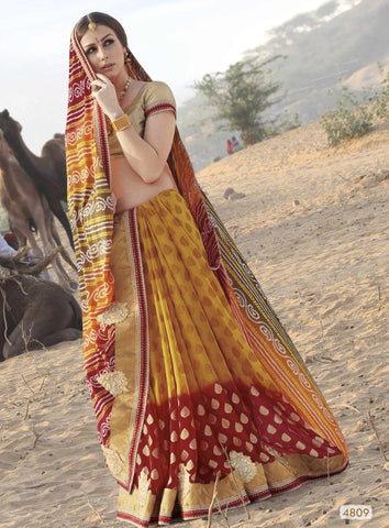 Yellow & Red Colored Georgette heavy Worked Saree