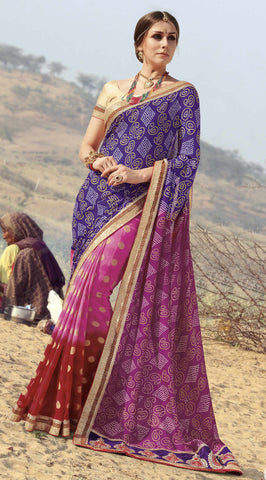 Blue,Pink & Red Colored Georgette heavy Worked Saree