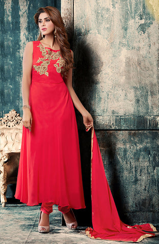 Beige And Red Colored Faux Georgette Suit.