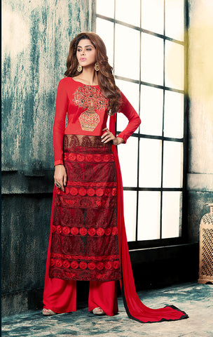 Red Colored Faux Georgette Suit.