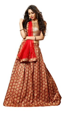Rukhad Fashion Red Colored Pure Bhagalpuri Silk Digital Print Semi Stitched Lehenga Choli
