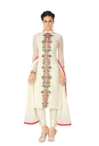 Off White Colored Georgette Embroidered Semi Stitched Salwar Suit