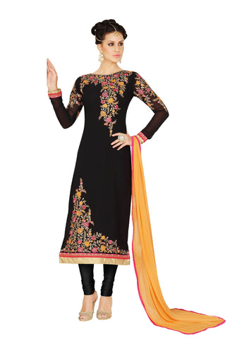Black Colored Georgette Embroidered Semi Stitched Salwar Suit