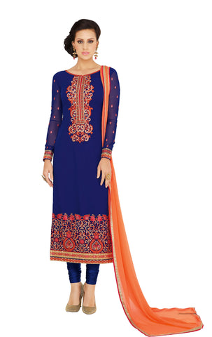 Blue Colored Georgette Embroidered Semi Stitched Salwar Suit