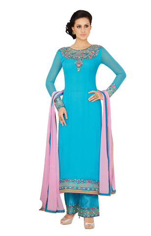 Turquoise Blue Colored Georgette Embroidered Semi Stitched Salwar Suit
