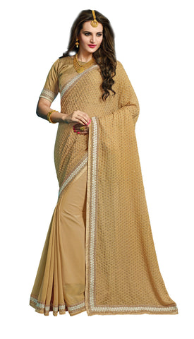 Beige Color Bemberg Georgette & Crepe Saree With Un-Stich Blouse.