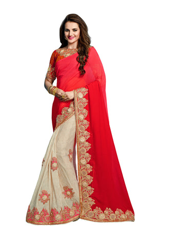 Red & Off White Colored Bemberg Chiffon Embroidered Saree