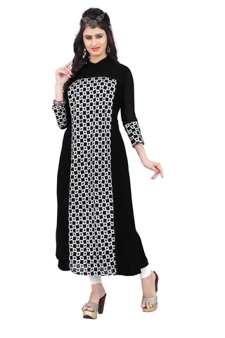 Black Colored Georgette Embroidered Partywear Stitched Kurti