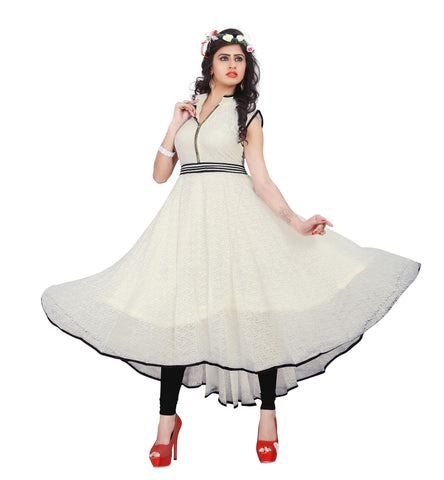 Off White Colored Rasal Net Embroidered Partywear Stitched Kurti
