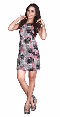 Beige Colored Cotton Printed Partywear Stitched Dress