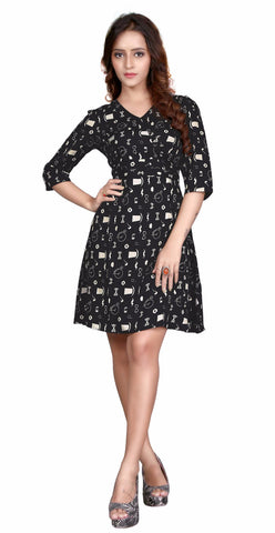 Black Colored Rayon Printed Partywear Stitched Dress