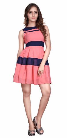 Peach Colored Georgette Printed Partywear Stitched Dress