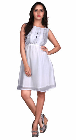 Off White Colored Georgette Printed Partywear Stitched Dress