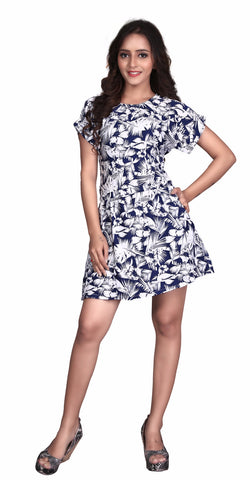 Blue Colored Rayon Printed Partywear Stitched Dress