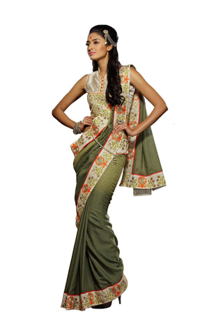 Dark Green Colored Viscose Embroidered Saree