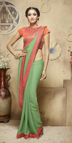 Green Colored Jacquard Embroidered Saree