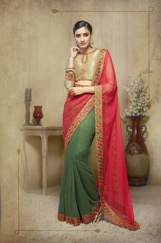 Green & Pink Colored Viscose & Net Embroidered Saree