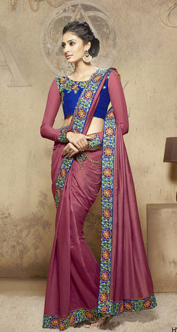 Dark Pink Colored Viscose Embroidered Saree