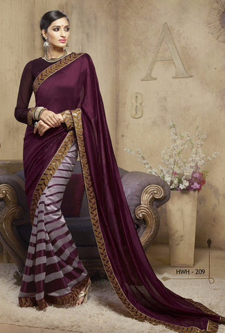 Magenta & Grey Colored Viscose Embroidered Saree