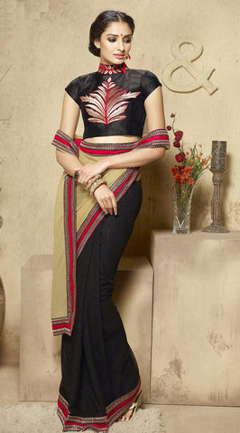 Cream & Black Colored Georgette Embroidered Saree