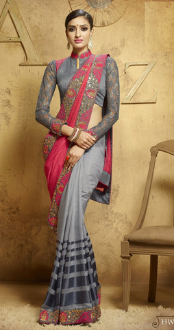 Grey & Pink Colored Viscose Embroidered Saree