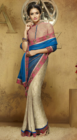 Beige & Blue Colored Georgette Embroidered Saree