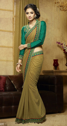 Beige Colored Viscose Embroidered Saree