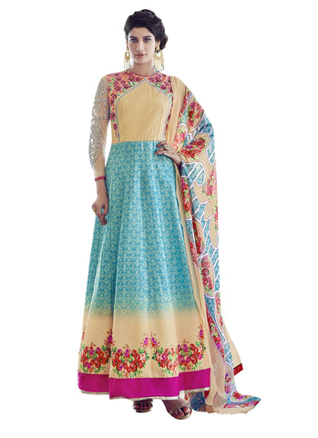 Multi Colored Heavy Taffeta Silk Embroidered Semi-Stitched Anarkali Suit