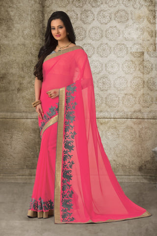 Multi-Color Georgette  Printed With Lace Border Saree