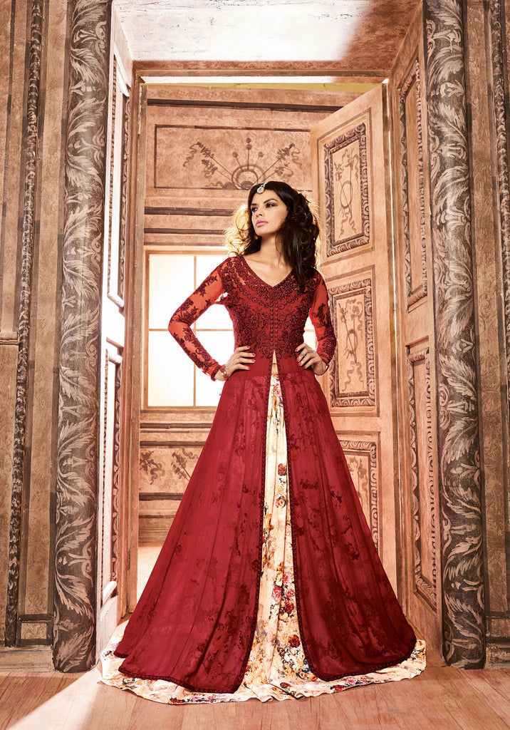 Red Colored Silk Embroidery, Stone And Sequance Work Anarkali Suit