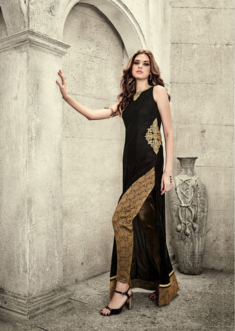 Black Colored Falken Velvet Embroidered Semi Stitched Anarkali Suit
