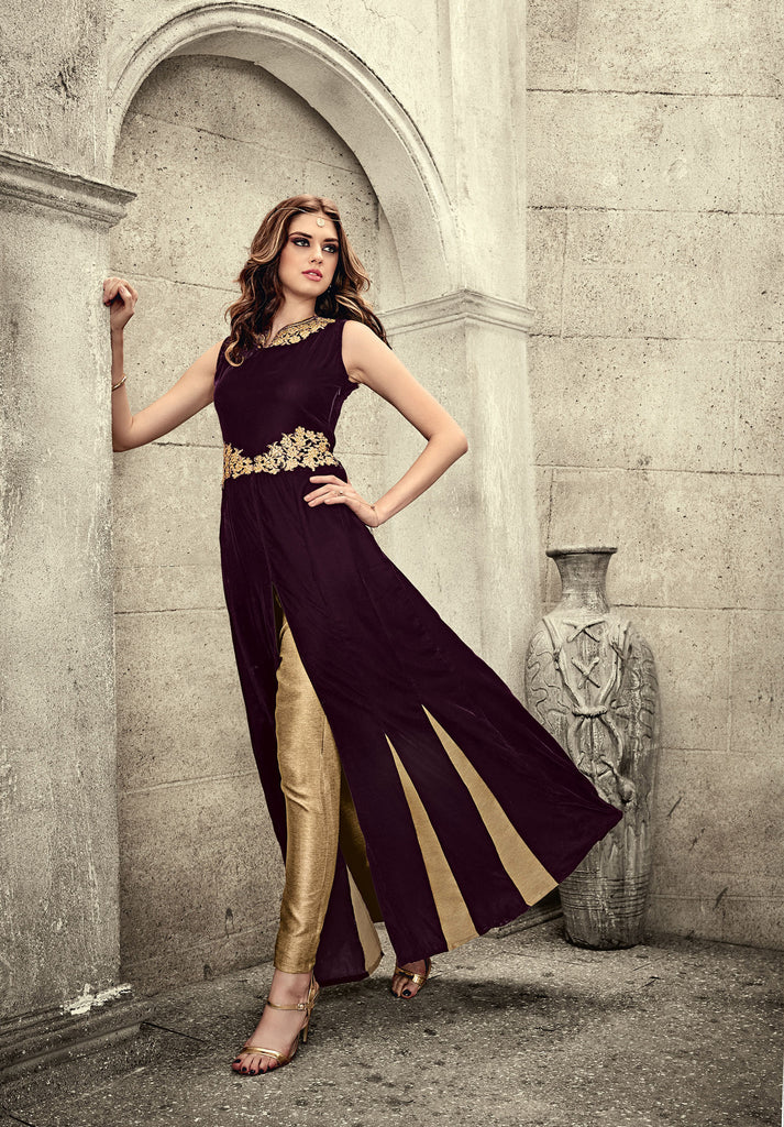 Dark Magenta Colored Falken Velvet Embroidered Semi Stitched Anarkali Suit