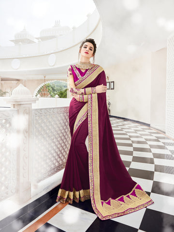 Magenta Colored Georgette  Embroidered Saree