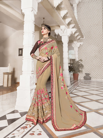 Beige Colored Georgette  Embroidered Saree
