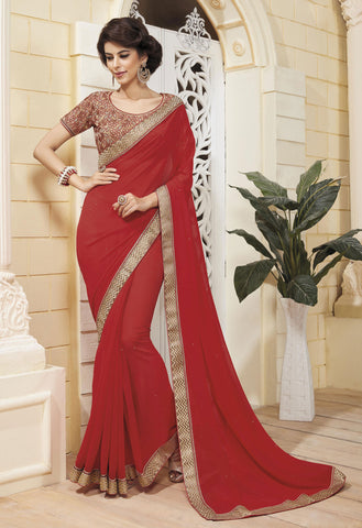 Maroon Colored Georgette Zari embroidery with stone work and lace border Saree