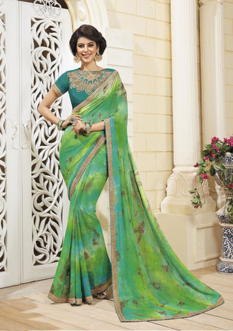 Green Colored Chiffon Zari embroidery and lace border Saree