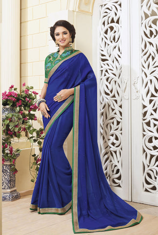 Blue Colored Georgette Zari embroidery with stone work and lace border Saree