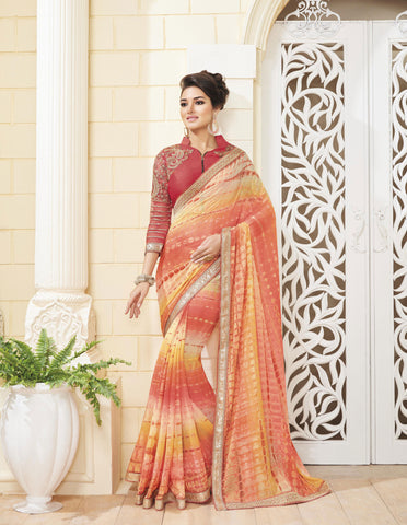 Cream & Pink Colored Chiffon Zari embroidery with stone work and lace border Saree